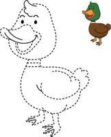 ilustração de jogo educativo para crianças e livro de colorir-pato vetor