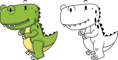 ilustração de dinossauro para colorir educacional vetor