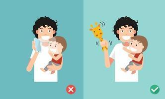 maneiras certas e erradas de brincar com as crianças vetor