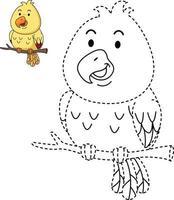 ilustração de jogo educativo para crianças e livro de colorir pássaro vetor