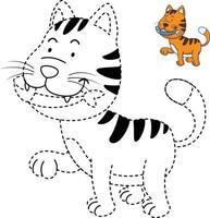 ilustração de jogo educativo para crianças e livro-gato para colorir vetor
