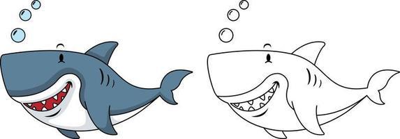 ilustração de tubarão livro de colorir educacional vetor
