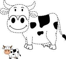 ilustração de jogo educativo para crianças e livro de colorir-vaca vetor
