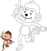 ilustração de jogo educativo para crianças e livro de colorir-monge vetor