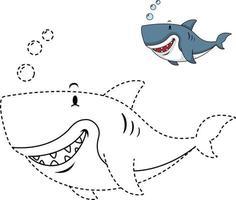 ilustração de jogo educativo para crianças e livro de colorir-tubarão vetor