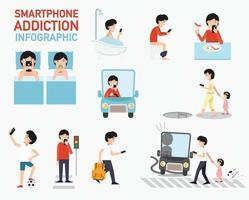 infográfico de dependência de smartphone.vector vetor