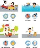 ilustração do conjunto de acidentes. vetor