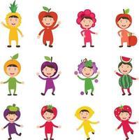ilustração de conjunto isolado de fantasias frutas crianças vetor