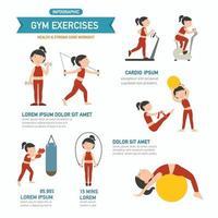 infográficos de exercícios de ginástica. vetor