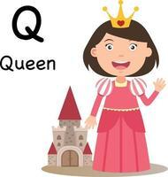 letra q-rainha do alfabeto, vetor. vetor
