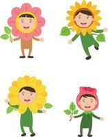 fantasias flor crianças vetor