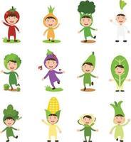 ilustração de conjunto isolado de fantasias vegetais crianças vetor