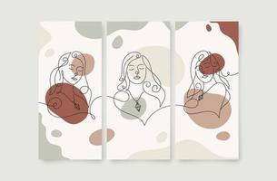 beleza rostos de mulher em linha de arte impressão de pôster de parede vetor