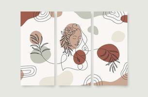 cartaz de parede de arte floral beleza mulher vetor