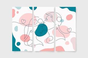 linha arte casal beijo parede impressão de pôster vetor