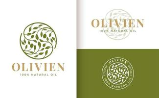 design de logotipo do ramo de oliveira vetor