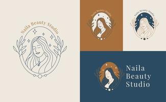 mulher beleza rosto logotipo estilo linear vetor