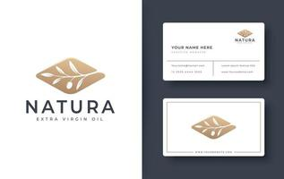 logotipo do ramo de oliveira e design de cartão de visita vetor