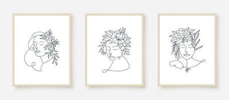 conjunto de retratos de mulher com moldura floral vetor
