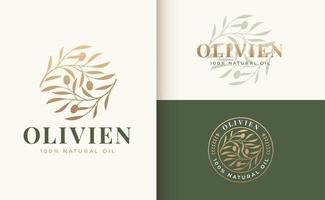 logotipo do ramo de oliveira e design de crachá vetor