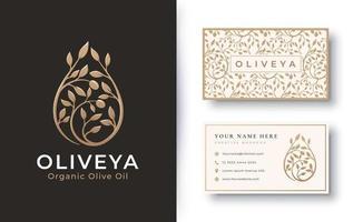 logotipo de azeite de oliva de produto orgânico e design de cartão de visita vetor
