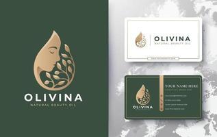 logotipo e cartão de visita de gota d'água de azeite de oliva vetor