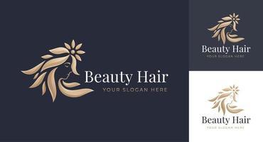 logotipo de salão de cabeleireiro feminino vetor