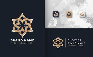 logotipo da mandala de flor dourada vetor