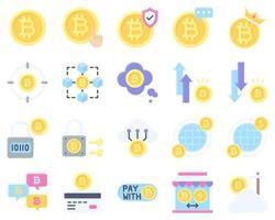 conjunto de ícones planos relacionados a bitcoin e criptomoeda vetor