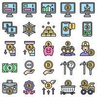 conjunto de ícones preenchidos relacionados com bitcoin e criptomoeda 3 vetor