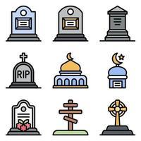 conjunto de ícones vetoriais relacionados a funeral, estilo preenchido vetor