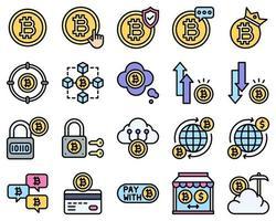 Conjunto de ícones preenchidos relacionados a bitcoins e criptomoedas vetor