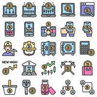 conjunto de ícones preenchidos relacionados com bitcoin e criptomoeda 4 vetor