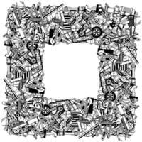quadro de peças sobressalentes vetor