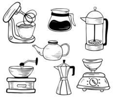 conjunto de ferramentas eletrônicas de cozinha. arte de linha. vetor