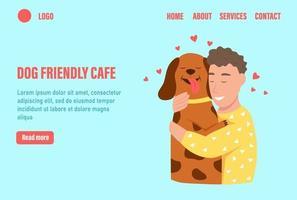 modelo de vetor de página de destino dog frendly cafe