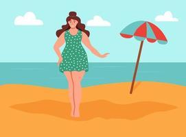 jovem mulher curvilínea na praia vetor