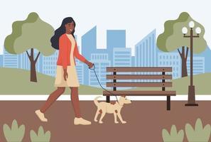 uma jovem caminha com seu cachorro no parque vetor