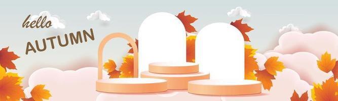 estágio de pódio temporada de outono arte em papel colorido para venda de banner vetor