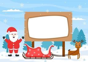 Feliz Natal com Papai Noel ou desenho de boneco de neve para a tabuleta vetor