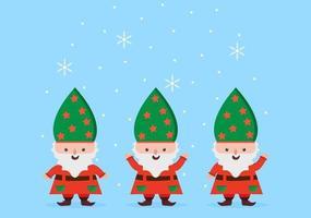 feliz natal fofo desenho anão, papai noel e duendes vetor