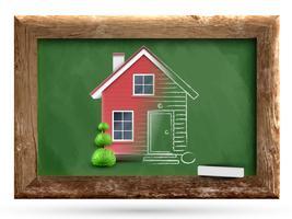 Casa realista sendo desenhada num quadro-negro, vetor