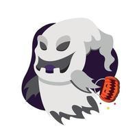 fantasma assustador com uma abóbora cristalizada vetor