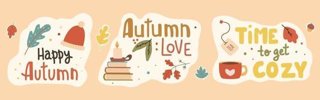 pacote de adesivos de slogan manuscritos para o outono. vetor