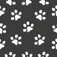 Padrão sem emenda de pata de gato, contorno estampado em preto vetor