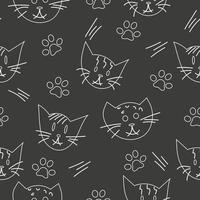 gato, padrão sem emenda de pata, esboço de vetor de doodle