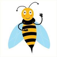 uma alegre abelha amarela acena em saudação vetor
