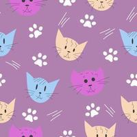 gato, padrão sem emenda de pata, colorido desenhado à mão vetor
