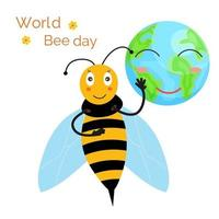 dia mundial das abelhas. abelha sorridente, planeta feliz vetor