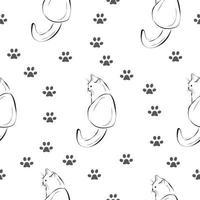 gato, pata padrão sem emenda, esboço de esboço imprimir vetor